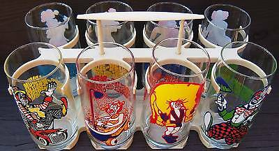 ringling brothers barnum bailey circus glass tumblers with carrier vintage 1976
