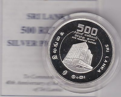 Boxed Sri Lanka Silver Proof 500 Rupees Coin With Certificate