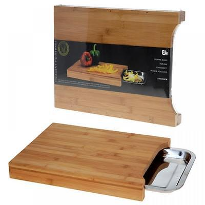 Large Bamboo Wooden Chopping Board Kitchen Slicing Dicing Cutting Food With Tray