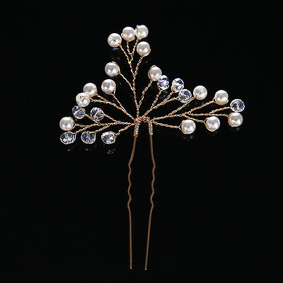 Gold Handmade Bride Pearl Crystal Flower Hairpins Women Wedding Hair Accessories