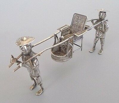 Antique Chinese export solid silver miniature palanquin, Wing Nam, c.1900