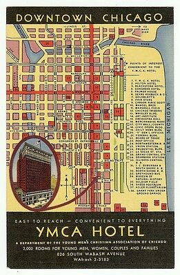 1940'S DOWNTOWN CHICAGO Map YMCA Hotel Illinois IL Postcard - $4.95 on