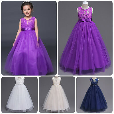 Lace Flower Girl Kid Princess Tulle Dress Pageant Wedding Bridesmaid Formal Gown
