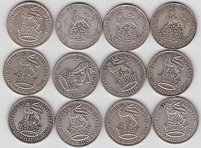 12 George V Shillings Dated 1922 To 1936 In Fine Or Better Condition