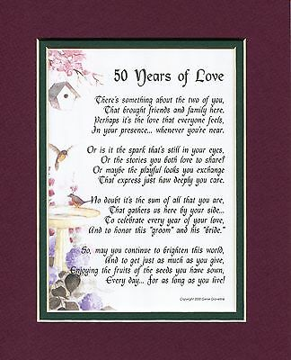 50 Years of Love, #119, Poem Gift Present For A 50th Wedding Anniversary