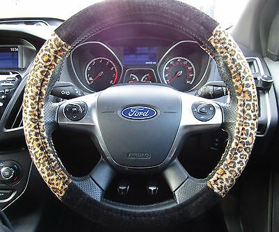 Leopard Print Car Steering Wheel Cover Glove 37>39cm Soft Suede Universal Fit