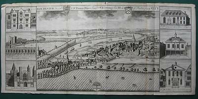 1719 - HARRIS - Bird's eye view ROCHESTER  Kent  England