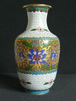Ältere Cloisonné Vase Emaille Blumenmuster China