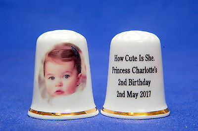 Princess Charlotte's 2nd Birthday 'How Cute Is She' Exclusive Thimble B/180