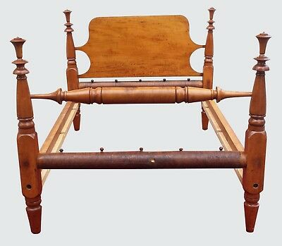 18Th Century New England Tiger Maple Federal Period Four Poster Bed