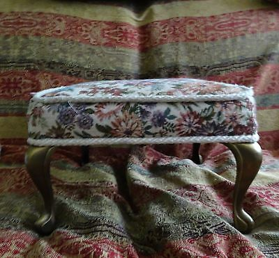 Antique Victorian lady Bench Chair Foot Stool Needlepoint Wood Cast Iron legs