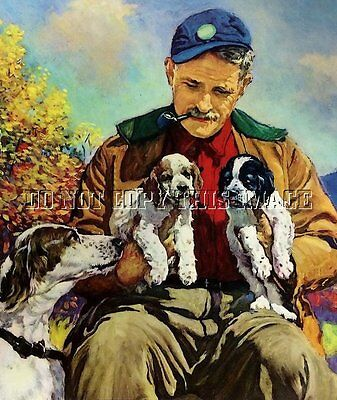 ANTIQUE HUNTING PHOTOGRAPH REPRINT 8 x 10 MAN WITH ENGLISH SETTER AND PUPPIES