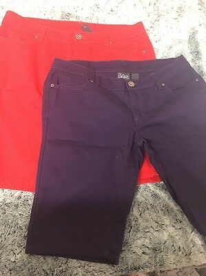 Two New Juniors City Streets Sz 11 Purple Red Long Shorts