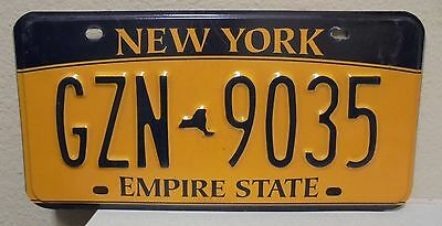 2012 New York  Empire State Gold License Plate Gzn 9035 Used