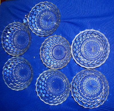 Lot Of 7 Anchor Hocking Bubble Pattern Dessert Bowls