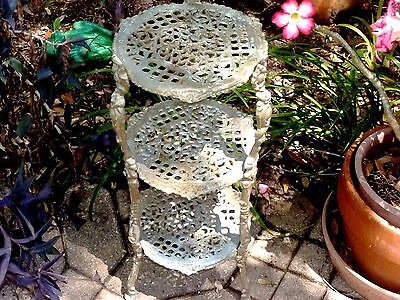 Antique ART NOUVEAU 3-Tier / 3-Leg CAST IRON Garden Patio PLANT STAND Table