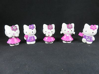 Hello Kitty Figures Lot Of 5 - from 2005 - Sanrio - Pink and Purple