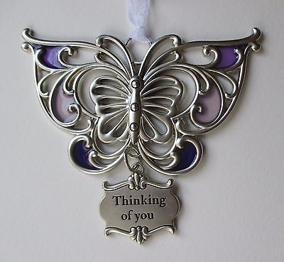H Thinking of you ARTFUL BUTTERFLY ORNAMENT Ganz Car Charm stained glass suncatc