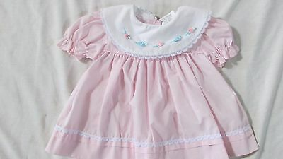 Vintage baby girl's Alexis pink dress 3 months flowers lace trim
