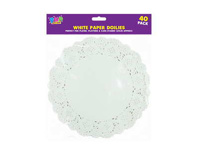 40White Paper Round Doilies Disposable Party Wedding Celebration Table Wear 24Cm