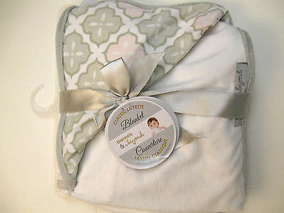 Blankets And & Beyond Baby Girls Blanket Grey White Pink Cotton, Polyester