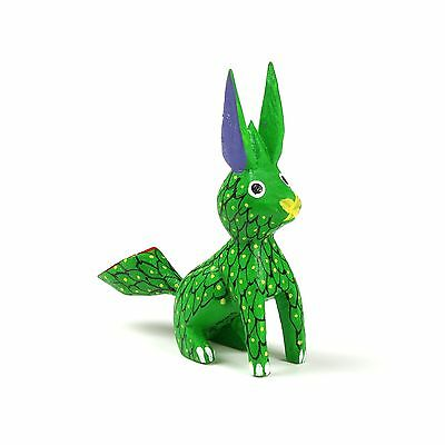 GREEN RABBIT Mini Oaxacan Alebrije Wood Carving Mexican Folk Art Sculpture