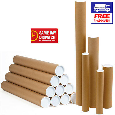 Box of 10 Postal Tubes Cardboard Poster 95cm x 77mm x 2mm with Plastic Caps