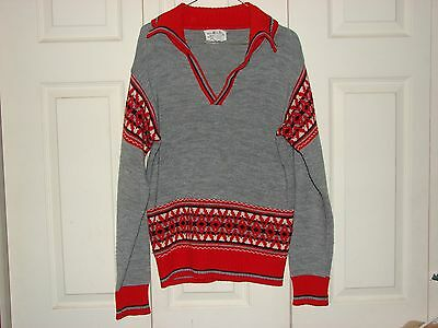 Vintage 50's Rockabilly thin Sweater V-neck collared gray/red men's sz. M