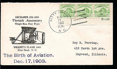 US 1933 event cover 30th Anniversary Wright Brothers 1st Flight, KITTY HAWK ,NC