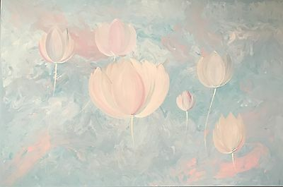 Modern Original Abstract Canvas Painting Lotus Pink Blue White Dee's Funky Art