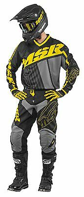 MSR Axxis Black/Yellow/Grey Jersey & Pant Combo Set Motocross M17 Off Road Gear