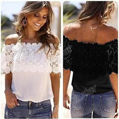 Women Off Shoulder Casual Lace Tops Crochet Chiffon Blouse Shirt Plus Size CA