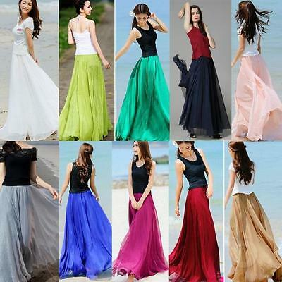 Women High Waist Elastic Waist Skirt Double Layer Long Maxi Beach Dress CA