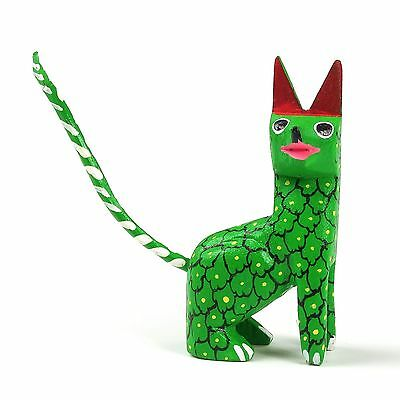GREEN CAT Mini Oaxacan Alebrije Wood Carving Mexican Folk Art Sculpture