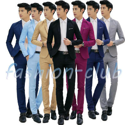 2Pcs/Set Men Slim Prom Party Formal Wedding One Button Suit Blazer Jacket Pants