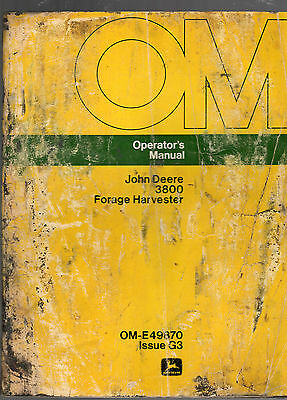 John Deere 3800 Forage Harvester Operator's Manual-Issue G3