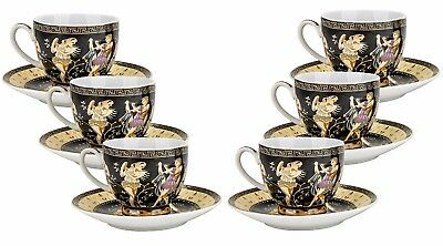 EURO Porcelain 12-pc. Greek Key Coffee Espresso Mini Cup & Saucer Set (3 oz.)