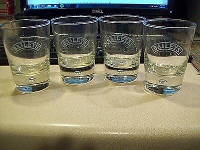 Set of 4 Baileys Irish Cream Etched Logo W/ Bubble Low Ball Rocks Glasses Nice