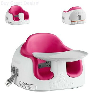 Bumbo Multi Seat Dining High Chair Booster Strap Adjustable Feeding Tray Magenta