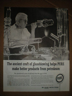 1959 Chemistry lab Glass Blower vtg Glassblowing photo Pure Oil Ad