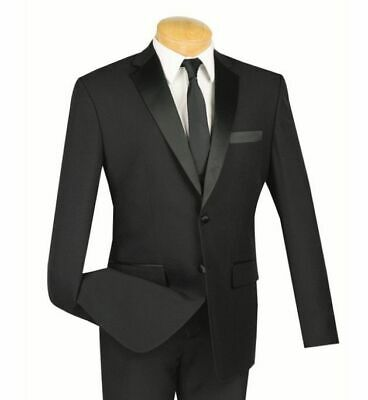 Men's Black Slim-Fit Formal Tuxedo Suit w/ Sateen Lapel & Trim NEW Wedding