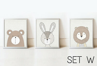 SET Bear Rabbit Lion Nursery Decor Wall Art Animals Picture Kids Print Baby Room