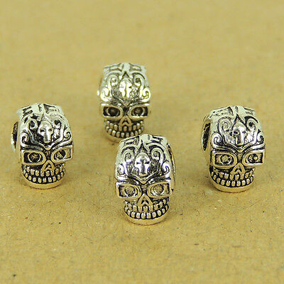 4 Pcs 925 Sterling Silver Double-sided Skull Dia De Muertos Day of The Dead W543