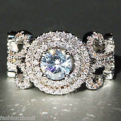 New 925 Silver Filled White Sapphire  Birthstone Engagement Wedding  Ring Gift