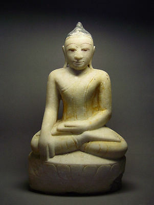 ANTIQUE BURMESE SHAN STATES MARBLE STATUE OF BUDDHA, MYANMAR, 19th C.