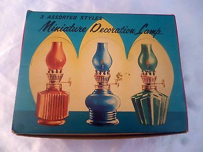 VINTAGE SET OF 3 MINATURE COLOURED GLASS OIL KEROSENE LAMPS Mint With Box