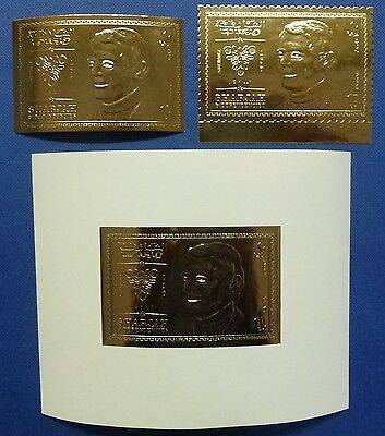 5/Sharjah 1972 Olympiade Olympics Killy Gold Foil 542 A/B + Block 50 ** MNH