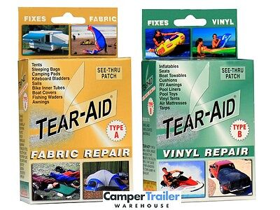 Tear Aid Retail (Type A) + (Type B) Combo Repair Kits - Tent, Swag, Seat, PVC,
