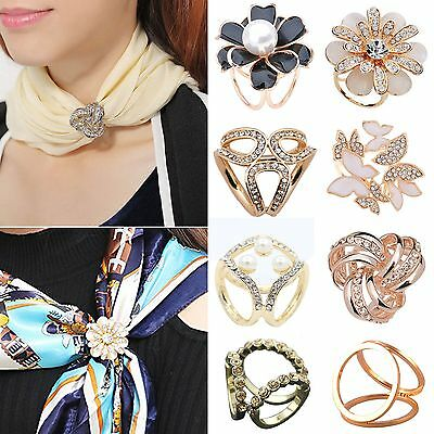 Women Scarf Buckle Ring Clip Holder Crystal Flower Silk Scarves Jewelry Brooches
