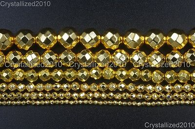 AAA Natural Gold Hematite Gemstones Faceted Round Beads 4mm 6mm 8mm 10mm 16''